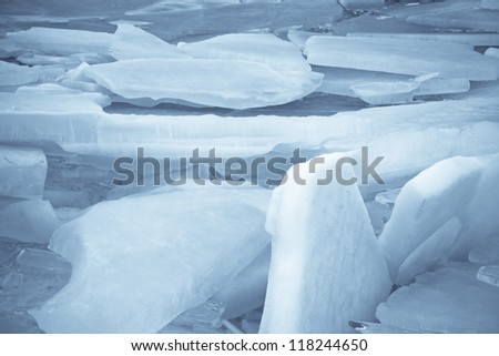 Broken Chunks of Ice - stock photo