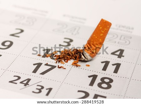 Broken cigarette butt. Stop smoking now. Take care of health