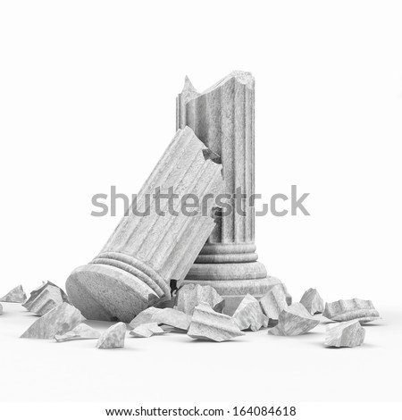 Broken Classic Ancient Column isolated on white background - stock photo