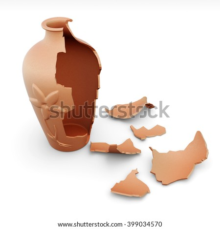 Broken clay vase isolated on white background. 3d rendering.