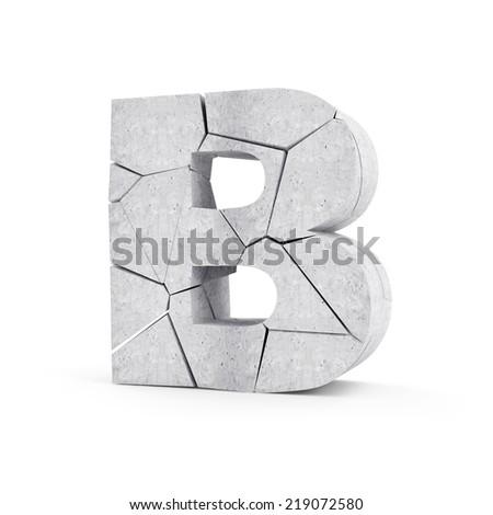 Broken Concrete Alphabet isolated on white background (Letter B) - stock photo