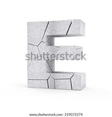 Broken Concrete Alphabet isolated on white background (Letter E) - stock photo