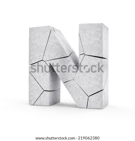 Broken Concrete Alphabet isolated on white background (Letter N) - stock photo