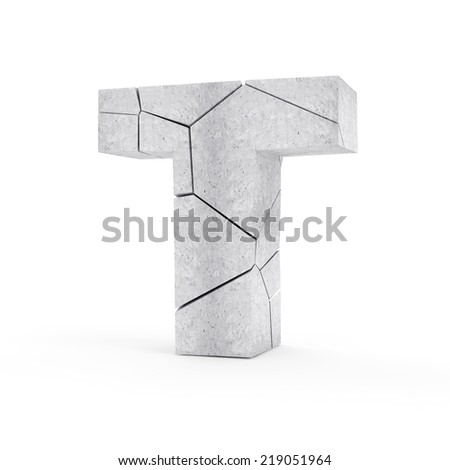 Broken Concrete Alphabet isolated on white background (Letter T) - stock photo