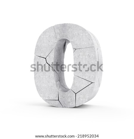 Broken Concrete Numbers isolated on white background (Number 0) - stock photo