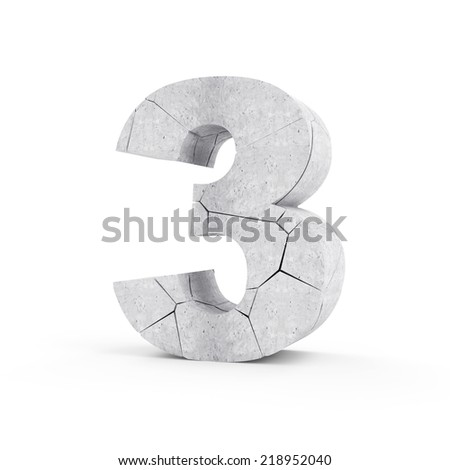 Broken Concrete Numbers isolated on white background (Number 3) - stock photo