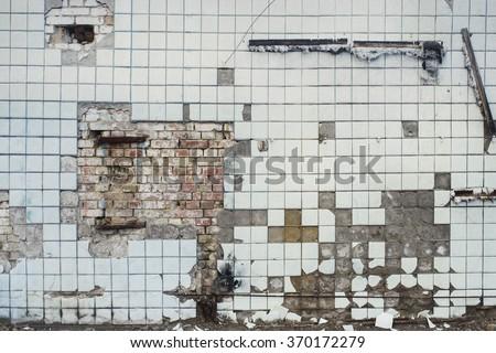 broken cracked light blue tile wall texture background vintage effect