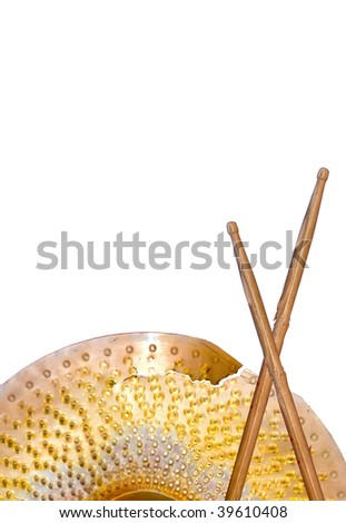 Broken Cymbal and Two Drum Sticks Isolated on White. Great Design Element For True Rock Star Composition. - stock photo