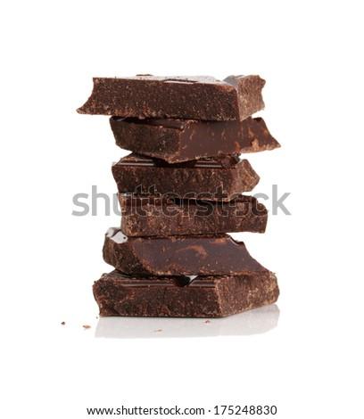 Broken dark chocolate bar isolated on white  - stock photo