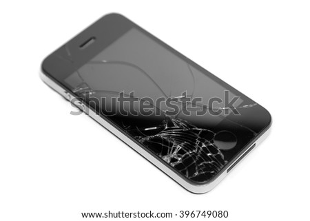 broken display smartphone isolated on white background