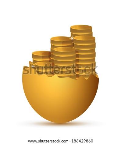 broken egg and coins illustration design over a white background - stock photo
