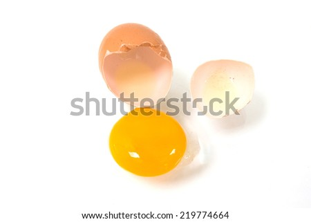 Broken egg isolated on a white background