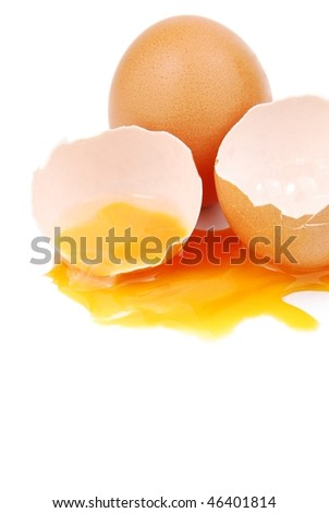 broken egg with the yolk and white oozing out isolated on white background