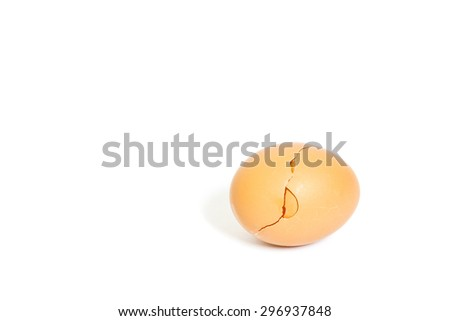broken eggshell isolated on white background, broken egg and empty eggshell isolated on white background - stock photo
