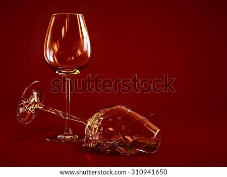 Broken Empty Wine Glass - stock photo