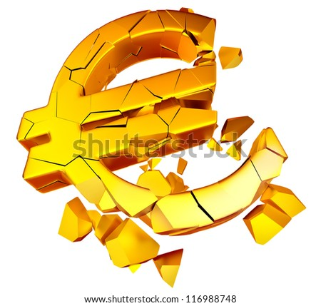 Broken euro as a symbol of european economic crisis - stock photo