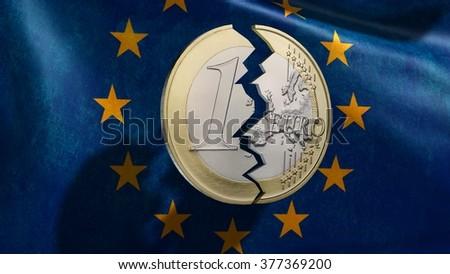 broken euro coin in front EU flag - stock photo
