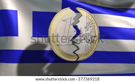 broken euro coin in front Greece flag - stock photo
