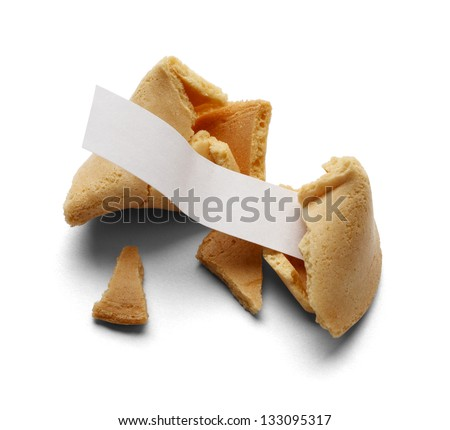 Broken Fortune Cookie With Blank Fortune for Copy Space Isolated on a White Background.