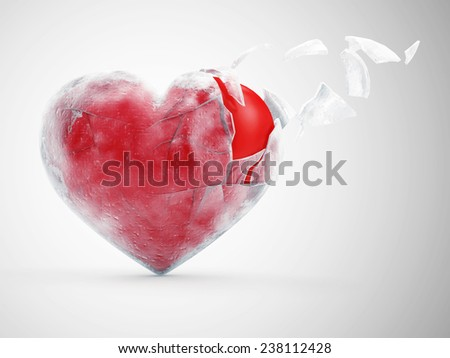 Broken Frozen Red Heart on gradient background. St Valentine's Day and Love Concept - stock photo