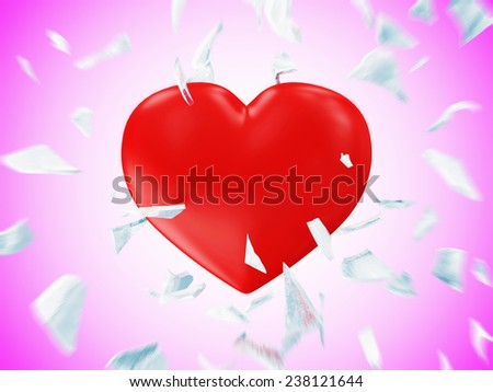 Broken Frozen Red Heart with Motion Blur on Pink gradient background. St Valentine's Day and Love Concept - stock photo