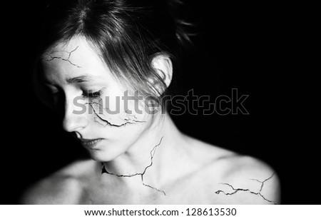 Broken girl - stock photo