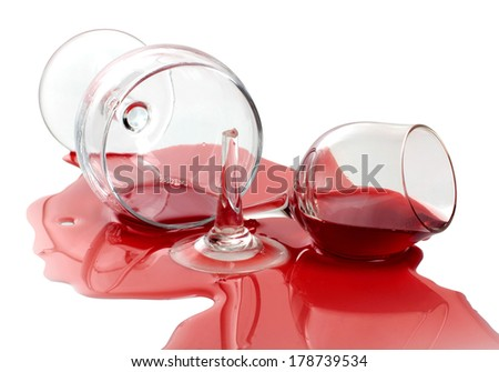 broken glass and spilled wine - stock photo