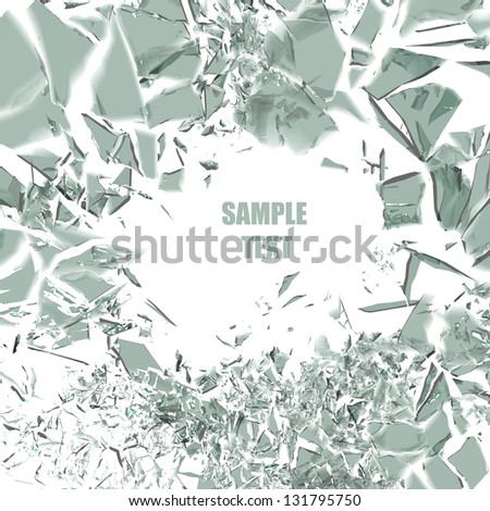 broken glass background isolated on white. High resolution 3d render - stock photo