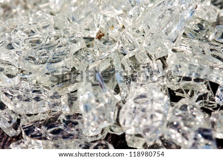 Broken glass crystals in the car accident