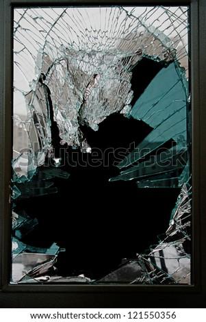 Broken Glass Door Of The Shop