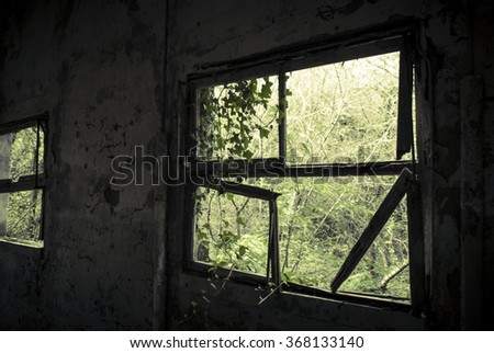 Broken glass in the military base - stock photo