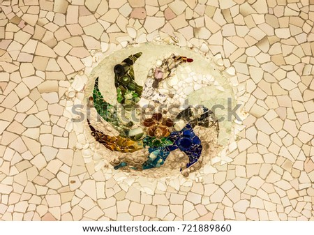 Broken Glass Mosaic Tile Barcelona Spain Stock Photo (Download Now ...