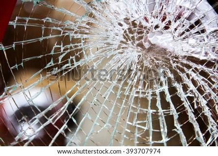 Broken glass of wind guard car. - stock photo