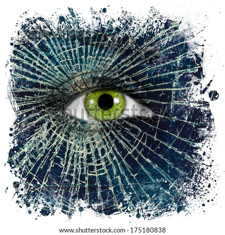 Broken glass on female face with green eye, broken or empty soul concept