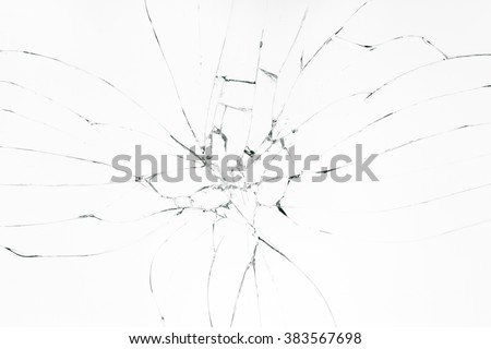 Broken glass on white background - stock photo
