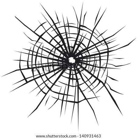broken glass vector background of cracked glass (bullet hole)