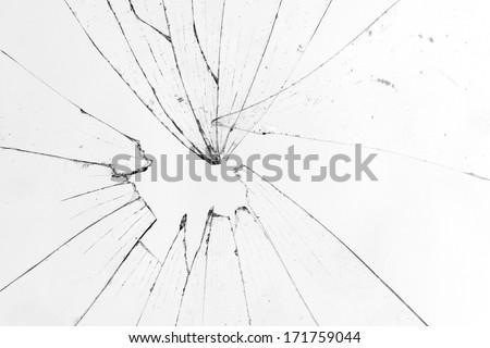 broken glass white background - stock photo