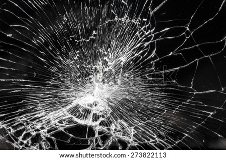 Broken glass - white lines on black background, design element