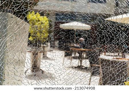Broken glass window background - stock photo