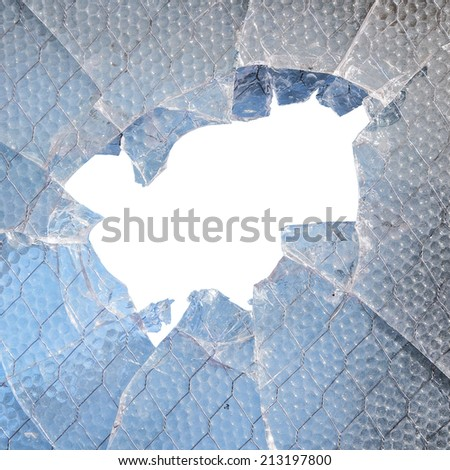 Broken glass window with white copyspace - stock photo