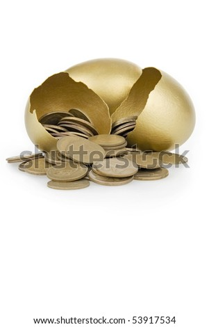 Broken gold egg and money,on white background. - stock photo