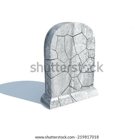 Broken Gravestone with shadow isolated on white background - stock photo