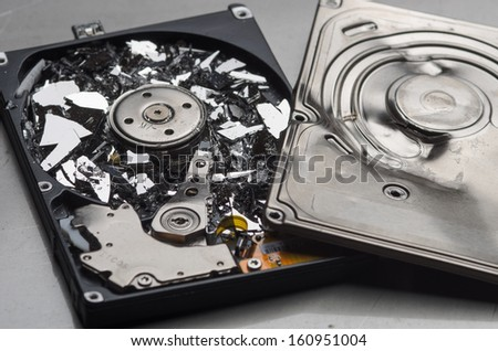 Broken hard disk - stock photo