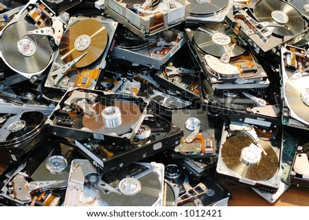 Broken Hard Drives - stock photo
