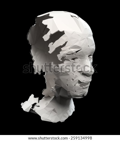 Broken head sculpture - depression concept illustration  - stock photo