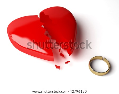 broken heart and broken gold wedding ring - stock photo
