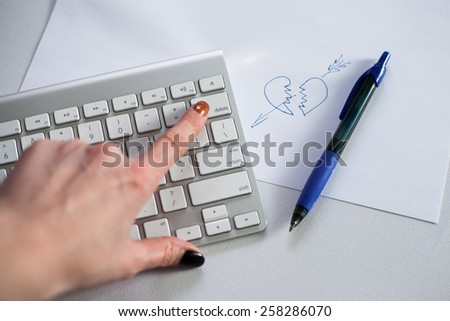 Broken heart, delete on keyboard - stock photo
