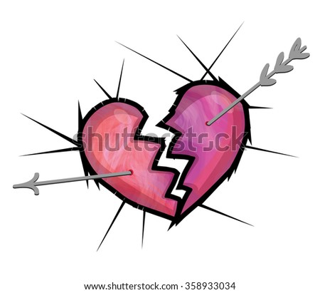 Broken heart graphic illustration - two part of heart separation, with broken arrow in heart. Hurt heart cowered thorns. Symbol of sad feelings and problem in relationship - stock photo