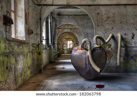 Broken heart machine in prison. - stock photo