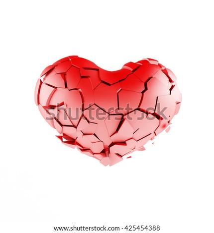 broken heart on white background. concept. 3D illustration  - stock photo